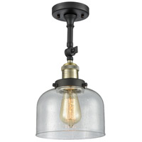 Innovations Lighting 201F-BBB-G74-LED Large Bell LED 8 inch Black Brushed Brass Semi-Flush Mount Ceiling Light