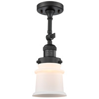 Innovations Lighting 201F-BK-G181S-LED Small Canton LED 6 inch Matte Black Semi-Flush Mount Ceiling Light Franklin Restoration