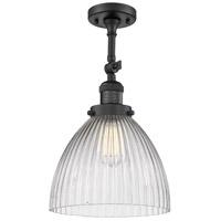 Innovations Lighting 201F-BK-G222-LED Seneca Falls LED 10 inch Matte Black Semi-Flush Mount Ceiling Light Franklin Restoration