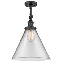 Innovations Lighting 201F-BK-G42-L-LED X-Large Cone LED 12 inch Matte Black Semi-Flush Mount Ceiling Light Franklin Restoration