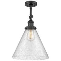 Innovations Lighting 201F-BK-G44-L-LED X-Large Cone LED 12 inch Matte Black Semi-Flush Mount Ceiling Light Franklin Restoration