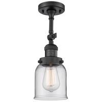 Innovations Lighting 201F-BK-G52-CE Small Bell Cage 1 Light 5 inch Matte Black Semi-Flush Mount Ceiling Light, Franklin Restoration