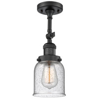 Innovations Lighting 201F-BK-G54-CE Small Bell Cage 1 Light 5 inch Matte Black Semi-Flush Mount Ceiling Light, Franklin Restoration