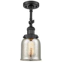 Innovations Lighting 201F-BK-G58-CE Small Bell Cage 1 Light 5 inch Matte Black Semi-Flush Mount Ceiling Light, Franklin Restoration