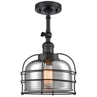 Innovations Lighting 201F-BK-G73-CE Large Bell Cage 1 Light 8 inch Matte Black Semi-Flush Mount Ceiling Light Franklin Restoration