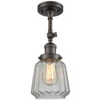 Innovations Lighting 201F-OB-G142-LED Chatham LED 6 inch Oil Rubbed Bronze Semi-Flush Mount Ceiling Light Franklin Restoration