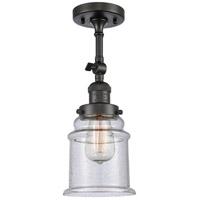 Innovations Lighting 201F-OB-G184-LED Canton LED 6 inch Oil Rubbed Bronze Semi-Flush Mount Ceiling Light, Franklin Restoration