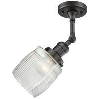 Innovations Lighting 201F-OB-G302-LED Colton LED 6 inch Oil Rubbed Bronze Semi-Flush Mount Ceiling Light, Franklin Restoration