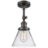 Innovations Lighting 201F-OB-G42-LED Large Cone LED 8 inch Oil Rubbed Bronze Semi-Flush Mount Ceiling Light, Franklin Restoration