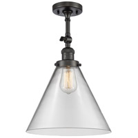 Innovations Lighting 201F-OB-G42-L-LED X-Large Cone LED 12 inch Oil Rubbed Bronze Semi-Flush Mount Ceiling Light Franklin Restoration