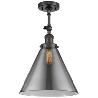Innovations Lighting 201F-OB-G43-L-LED X-Large Cone LED 12 inch Oil Rubbed Bronze Semi-Flush Mount Ceiling Light Franklin Restoration