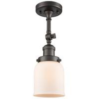 Innovations Lighting 201F-OB-G51-LED Small Bell LED 5 inch Oil Rubbed Bronze Semi-Flush Mount Ceiling Light