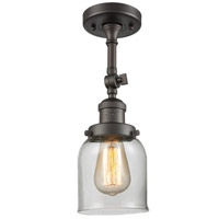 Innovations Lighting 201F-OB-G52-LED Small Bell LED 5 inch Oil Rubbed Bronze Semi-Flush Mount Ceiling Light
