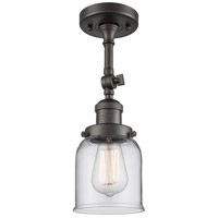 Innovations Lighting 201F-OB-G52-LED Small Bell LED 5 inch Oil Rubbed Bronze Semi-Flush Mount Ceiling Light, Franklin Restoration
