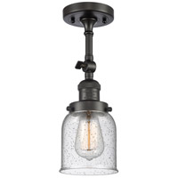 Innovations Lighting 201F-OB-G54-LED Small Bell LED 5 inch Oil Rubbed Bronze Semi-Flush Mount Ceiling Light, Franklin Restoration
