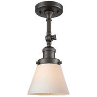 Innovations Lighting 201F-OB-G61-LED Small Cone LED 6 inch Oil Rubbed Bronze Semi-Flush Mount Ceiling Light, Franklin Restoration