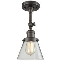 Innovations Lighting 201F-OB-G62-LED Small Cone LED 6 inch Oil Rubbed Bronze Semi-Flush Mount Ceiling Light, Franklin Restoration