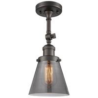 Innovations Lighting 201F-OB-G63-LED Small Cone LED 6 inch Oil Rubbed Bronze Semi-Flush Mount Ceiling Light, Franklin Restoration