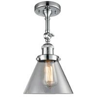 Innovations Lighting 201F-PC-G42-LED Large Cone LED 8 inch Polished Chrome Semi-Flush Mount Ceiling Light