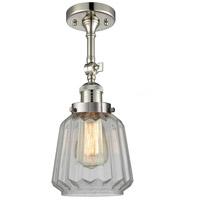 Innovations Lighting 201F-PN-G142-LED Chatham LED 6 inch Polished Nickel Semi-Flush Mount Ceiling Light Franklin Restoration