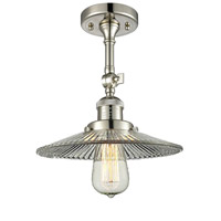 Innovations Lighting 201F-PN-G2-LED Halophane LED 9 inch Polished Nickel Semi-Flush Mount Ceiling Light Franklin Restoration