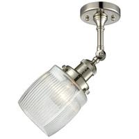 Innovations Lighting 201F-PN-G302 Colton 1 Light 6 inch Polished Nickel Semi-Flush Mount Ceiling Light, Franklin Restoration