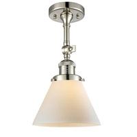 Innovations Lighting 201F-PN-G41-LED Large Cone LED 8 inch Polished Nickel Semi-Flush Mount Ceiling Light, Franklin Restoration
