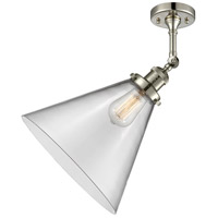 Innovations Lighting 201F-PN-G42-L-LED X-Large Cone LED 12 inch Polished Nickel Semi-Flush Mount Ceiling Light Franklin Restoration