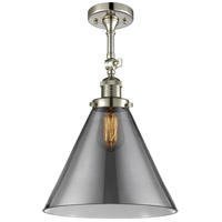 Innovations Lighting 201F-PN-G43-L-LED X-Large Cone LED 12 inch Polished Nickel Semi-Flush Mount Ceiling Light Franklin Restoration