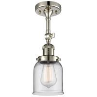 Innovations Lighting 201F-PN-G52-LED Small Bell LED 5 inch Polished Nickel Semi-Flush Mount Ceiling Light, Franklin Restoration