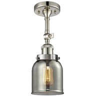Innovations Lighting 201F-PN-G53-LED Small Bell LED 5 inch Polished Nickel Semi-Flush Mount Ceiling Light