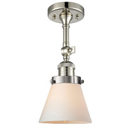 Innovations Lighting 201F-PN-G61-LED Small Cone LED 6 inch Polished Nickel Semi-Flush Mount Ceiling Light