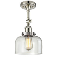 Innovations Lighting 201F-PN-G72-LED Large Bell LED 8 inch Polished Nickel Semi-Flush Mount Ceiling Light Franklin Restoration