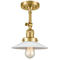 Innovations Lighting 201F-SG-G1-LED Halophane LED 9 inch Satin Gold Semi-Flush Mount Ceiling Light Franklin Restoration