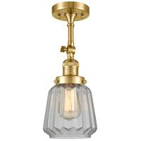 Innovations Lighting 201F-SG-G142-LED Chatham LED 6 inch Satin Gold Semi-Flush Mount Ceiling Light