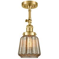 Innovations Lighting 201F-SG-G146-LED Chatham LED 6 inch Satin Gold Semi-Flush Mount Ceiling Light