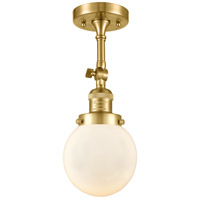 Innovations Lighting 201F-SG-G201-6 Beacon 1 Light 6 inch Satin Gold Semi-Flush Mount Ceiling Light Franklin Restoration