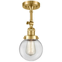 Innovations Lighting 201F-SG-G202-6 Beacon 1 Light 6 inch Satin Gold Semi-Flush Mount Ceiling Light Franklin Restoration