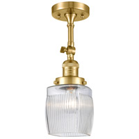 Innovations Lighting 201F-SG-G302 Colton 1 Light 6 inch Satin Gold Semi-Flush Mount Ceiling Light Franklin Restoration
