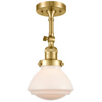 Innovations Lighting 201F-SG-G321 Olean 1 Light 7 inch Satin Gold Semi-Flush Mount Ceiling Light Franklin Restoration