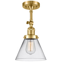 Innovations Lighting 201F-SG-G42 Large Cone 1 Light 8 inch Satin Gold Semi-Flush Mount Ceiling Light Franklin Restoration