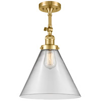 Innovations Lighting 201F-SG-G42-L X-Large Cone 1 Light 12 inch Satin Gold Semi-Flush Mount Ceiling Light Franklin Restoration