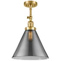 Innovations Lighting 201F-SG-G43-L-LED X-Large Cone LED 12 inch Satin Gold Semi-Flush Mount Ceiling Light Franklin Restoration