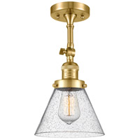 Innovations Lighting 201F-SG-G44 Large Cone 1 Light 8 inch Satin Gold Semi-Flush Mount Ceiling Light Franklin Restoration