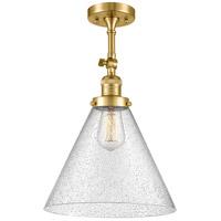 Innovations Lighting 201F-SG-G44-L-LED X-Large Cone LED 12 inch Satin Gold Semi-Flush Mount Ceiling Light Franklin Restoration