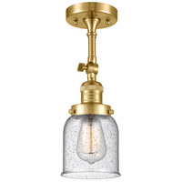 Innovations Lighting 201F-SG-G54 Small Bell 1 Light 5 inch Satin Gold Semi-Flush Mount Ceiling Light Franklin Restoration