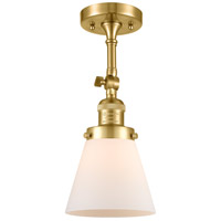 Innovations Lighting 201F-SG-G61 Small Cone 1 Light 6 inch Satin Gold Semi-Flush Mount Ceiling Light Franklin Restoration