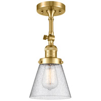 Innovations Lighting 201F-SG-G64 Small Cone 1 Light 6 inch Satin Gold Semi-Flush Mount Ceiling Light Franklin Restoration