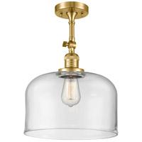 Innovations Lighting 201F-SG-G72-L-LED X-Large Bell LED 12 inch Satin Gold Semi-Flush Mount Ceiling Light Franklin Restoration