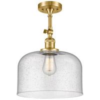Innovations Lighting 201F-SG-G74-L-LED X-Large Bell LED 12 inch Satin Gold Semi-Flush Mount Ceiling Light Franklin Restoration